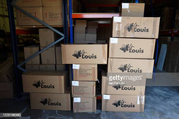 Memory boxes wait to be collected by courier to be transported to a hospital at the 4Louis charity on May 06 2020 in Sunderland United Kingdom 4Louis...