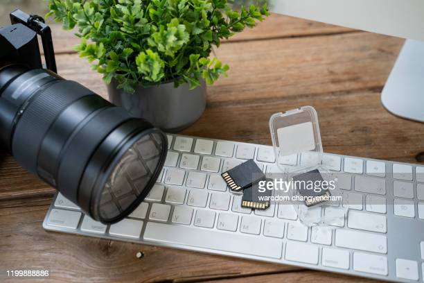 memory cards for dslr camera. photos storage. photography business. - camera icon stock pictures, royalty-free photos & images