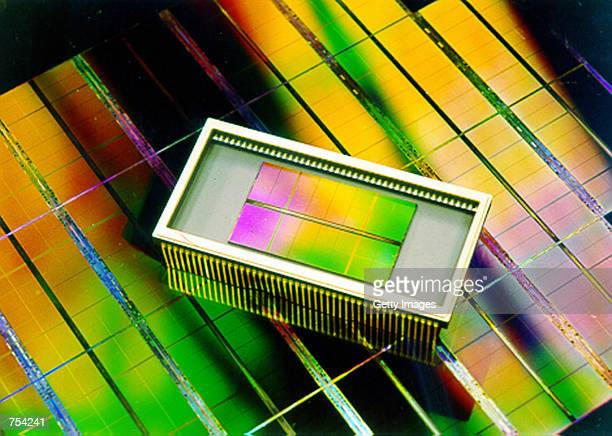 DRAM memory chip developed by South Korea's Samsung Electronics is on display February 8 2001 in South Korea Samsung Electronics announced that the...