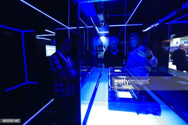 A memory driven computer device called 'The Machine' sits on display at the Hewlett Packard Enterprise Co pavilion at the CeBIT 2017 tech fair in...