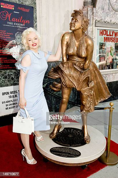 Memory Monroe a Marilyn Monroe lookalike attends Marilyn Monroe 50th Anniversary Memorial at The Hollywood Museum on August 2 2012 in Hollywood...