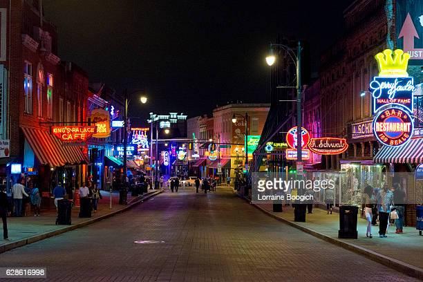 Memphis Beale Street Nightlife Neon Street Scene Tennessee