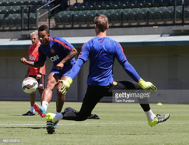 Memphis Depay and David de Gea of Manchester United in action during a first team training session as part of their preseason tour of the USA at...