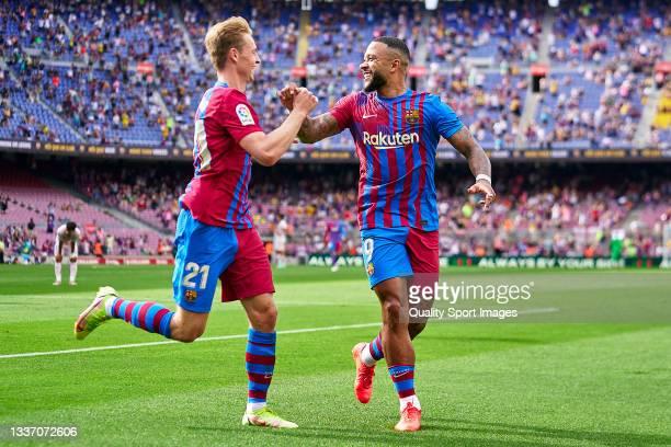 Memphis Depay and Frenkie De Jong of FC Barcelona celebrating their team's second goal during the La Liga Santander match between FC Barcelona and...