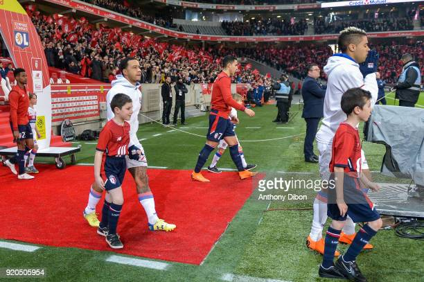 Memphis Depay and Mariano Diaz of Lyon during the Ligue 1 match between Lille OSC and Olympique Lyonnais at Stade Pierre Mauroy on February 18 2018...