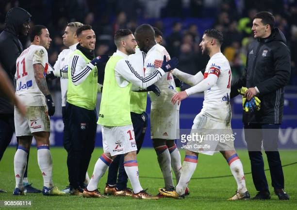 Memphis Depay Mariano Diaz Fernando Marcal Jordan Ferri Nabil Fekir of Lyon celebrate the victory following the French Ligue 1 match between...