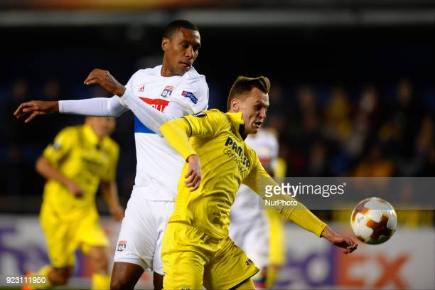 Memphis Depay Mario Gaspar during the match between Villarreal CF against Olympique of Lyon Round of 32 2nd leg of UEFA Europa League at Ceramica...