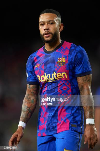 Memphis Depay of Barcelona during the UEFA Champions League group E match between FC Barcelona and Dinamo Kiev at Camp Nou on October 20, 2021 in...
