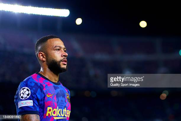 Memphis Depay of FC Barcelona looks on during the UEFA Champions League group E match between FC Barcelona and Dinamo Kiev at Camp Nou on October 20,...