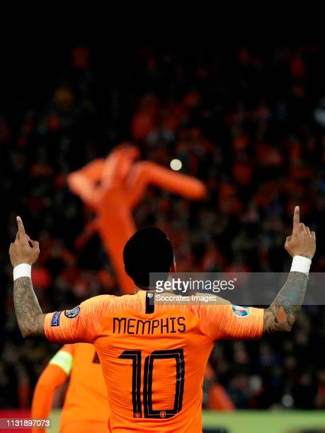 Memphis Depay of Holland celebrates 3-0 during the EURO Qualifier match between Holland v Belarus at the Feyenoord Stadium on March 21, 2019 in...