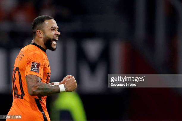 Memphis Depay of Holland celebrates 4-0 during the World Cup Qualifier match between Holland v Turkey at the Johan Cruijff Arena on September 7, 2021...