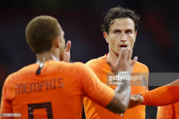 Memphis Depay of Holland, Daryl Janmaat of Holland during the International friendly match match between The Netherlands and Peru at the Johan...