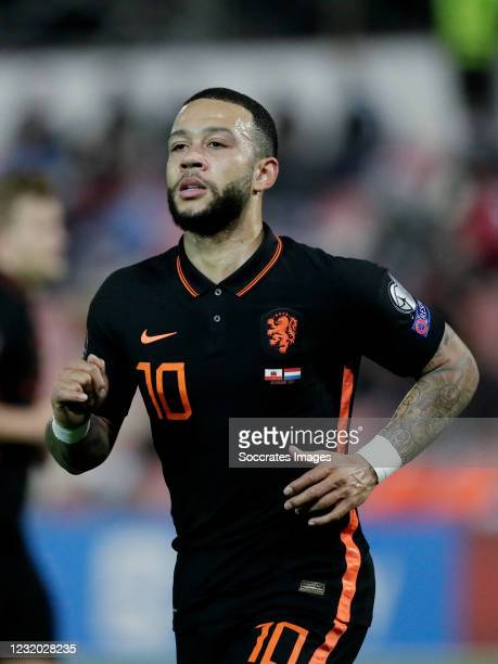 Memphis Depay of Holland during the World Cup Qualifier match between Gibraltar v Holland at the Victoria Stadium on March 30, 2021 in Gibraltar...