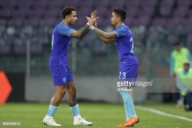 Memphis Depay of Holland Justin Kluivert of Holland during the International friendly match match between Portugal and The Netherlands at Stade de...