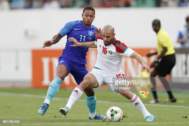 Memphis Depay of Holland Nordin Amrabat of Moroccoduring the friendly match between Morocco and The Netherlands at Grand Stade Adrar on May 31 2017...