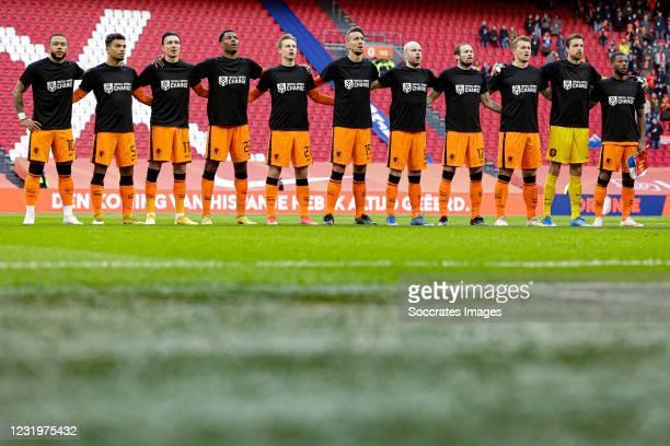 Memphis Depay of Holland, Owen Wijndal of Holland, Steven Berghuis of Holland, Denzel Dumfries of Holland, Frenkie de Jong of Holland, Luuk de Jong...