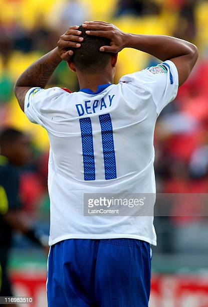 Memphis Depay of Holland reacts during a match between Holland and Congo as part of the group A of the FIFA U17 World Cup Mexico 2011 at the Morelos...