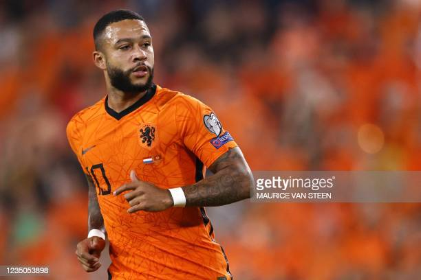 Memphis Depay of Holland runs during the FIFA World Cup Qatar 2022 European qualification football match against montenegro at the KNVB Campus on...