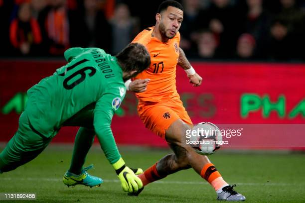 Memphis Depay of Holland scores the first goal to make it 10 during the EURO Qualifier match between Holland v Belarus at the Feyenoord Stadium on...