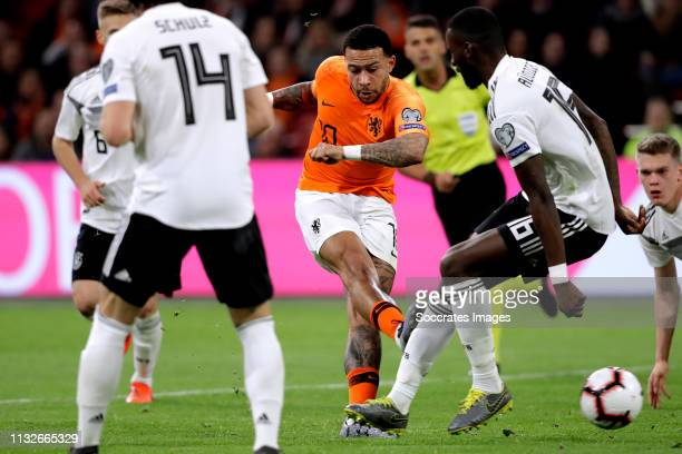 Memphis Depay of Holland scores the fourth goal to make it 2-2 during the EURO Qualifier match between Holland v Germany at the Johan Cruijff Arena...