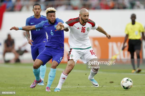 Memphis Depay of Holland Tonny Vilhena of Holland Nordin Amrabat of Moroccoduring the friendly match between Morocco and The Netherlands at Grand...
