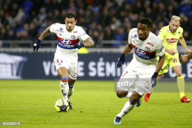 Memphis Depay of Lyon and Myziane Maolida of Lyon Photo by Romain Biard / Icon Sport