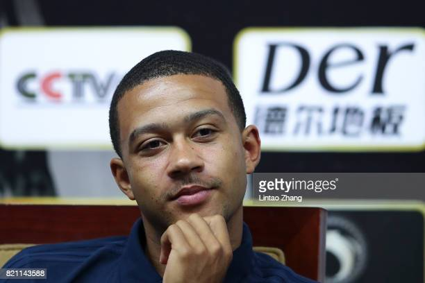 Memphis Depay of Lyon attends the a press conference ahead of the 2017 International Champions Cup football match between Olympique Lyonnais and FC...