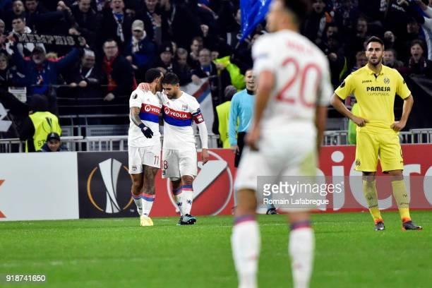 Memphis Depay of Lyon celebrates after scoring a goal with Nabil Fekir of Lyon during the Europa League match between Lyon and Villarreal at Groupama...