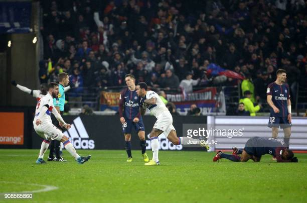 Memphis Depay of Lyon celebrates his winning goal at the last minute with Lucas Tousart during the French Ligue 1 match between Olympique Lyonnais...
