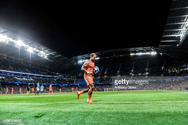 Memphis Depay of Lyon during the Champions League match between Manchester City and Lyon at Etihad Stadium on September 19 2018 in Manchester England