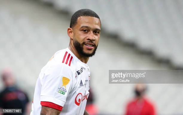 Memphis Depay of Lyon during the French League Cup final between Paris Saint-Germain and Olympique Lyonnais at Stade de France on July 31, 2020 in...