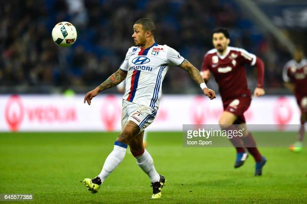 Memphis Depay of Lyon during the French Ligue 1 match between Lyon and Metz at Stade de Gerland on February 26 2017 in Lyon France