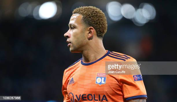 Memphis Depay of Lyon during the Group F match of the UEFA Champions League between Manchester City and Olympique Lyonnais at Etihad Stadium on...