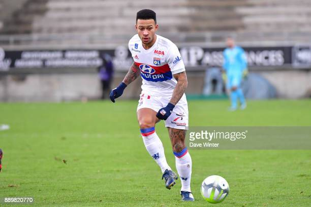 Memphis Depay of Lyon during the Ligue 1 match between Amiens SC and Olympique Lyonnais at Stade de la Licorne on December 10 2017 in Amiens France