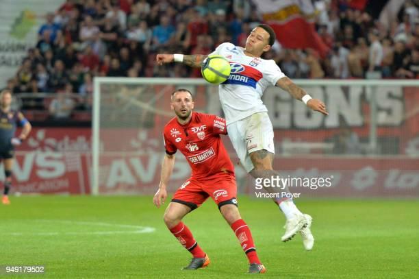 Memphis DEPAY of Lyon during the Ligue 1 match between Dijon FCO and Olympique Lyonnais at Stade Gaston Gerard on April 20 2018 in Dijon