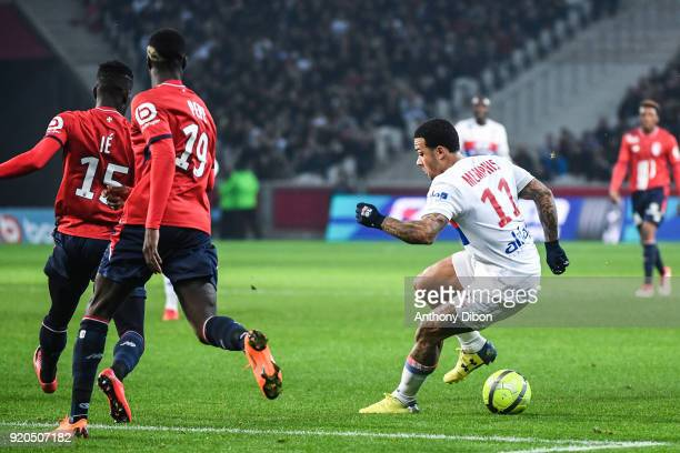 Memphis Depay of Lyon during the Ligue 1 match between Lille OSC and Olympique Lyonnais at Stade Pierre Mauroy on February 18 2018 in Lille