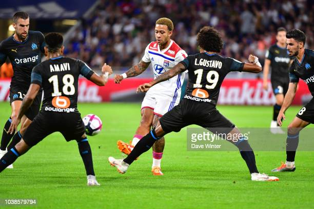 Memphis Depay of Lyon during the Ligue 1 match between Lyon and Marseille at the Groupama Stadium on September 23 2018 in Lyon France