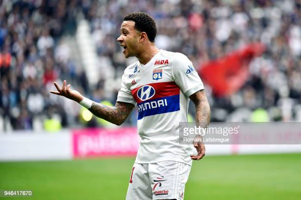 Memphis Depay of Lyon during the Ligue 1 match between Lyon and Amiens at Parc Olympique on April 14 2018 in Lyon