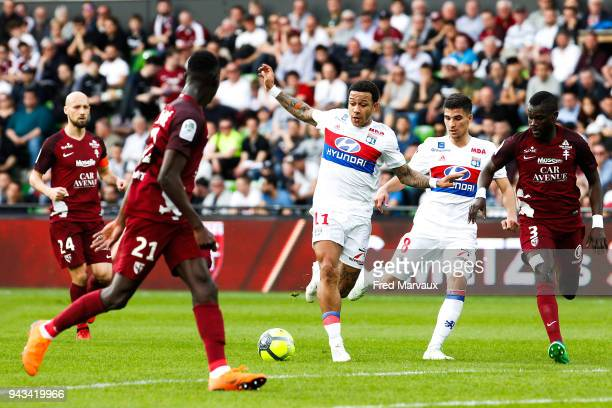 Memphis Depay of Lyon during the Ligue 1 match between Metz and Olympique Lyonnais at on April 8 2018 in Metz