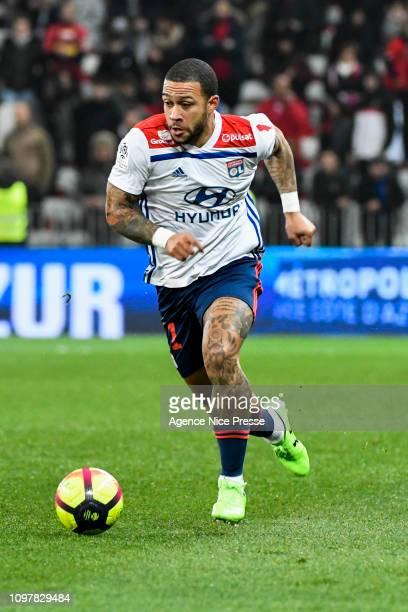 Memphis Depay of Lyon during the Ligue 1 match between Nice and Lyon at Allianz Riviera on February 10 2019 in Nice France