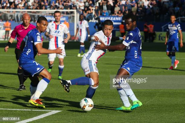 Memphis Depay of Lyon during the Ligue 1 match between SC Bastia and Olympique Lyonnais Lyon at Stade Armand Cesari on April 16 2017 in Bastia France