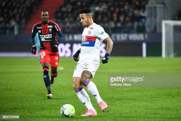 Memphis Depay of Lyon during the Ligue 1 match between SM Caen and Olympique Lyonnais at Stade Michel D'Ornano on December 3 2017 in Caen