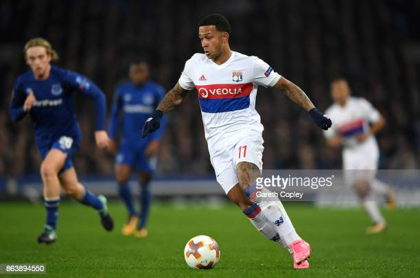 Memphis Depay of Lyon during the UEFA Europa League group E match between Everton FC and Olympique Lyon at Goodison Park on October 19 2017 in...