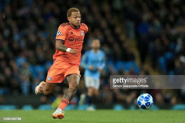 Memphis Depay of Lyon in action during the Group F match of the UEFA Champions League between Manchester City and Olympique Lyonnais at the Etihad...