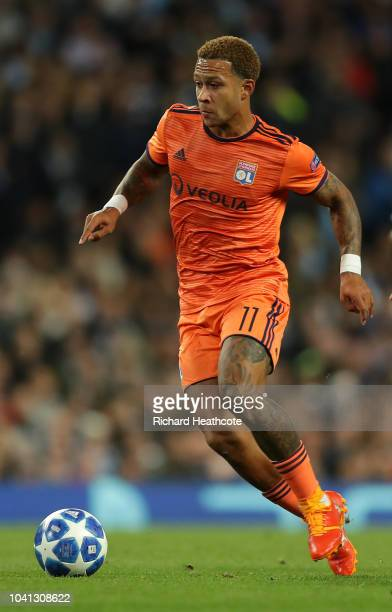 Memphis Depay of Lyon in action during the Group F match of the UEFA Champions League between Manchester City and Olympique Lyonnais at Etihad...