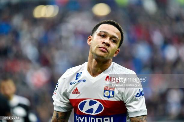 Memphis Depay of Lyon looks dejected during the Ligue 1 match between Lyon and Amiens at Parc Olympique on April 14 2018 in Lyon