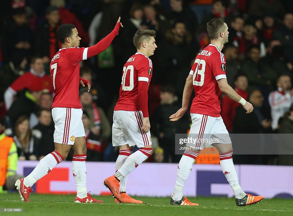 Memphis Depay of Manchester United celebrates scoring their fifth goal during the UEFA Europa League match between Manchester United and FC Midtjylland at Old Trafford on February 25, 2016 in Manchester, United Kingdom.