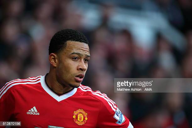 Memphis Depay of Manchester United during the Barclays Premier League match between Manchester United and Arsenal at Old Trafford on February 28 in...