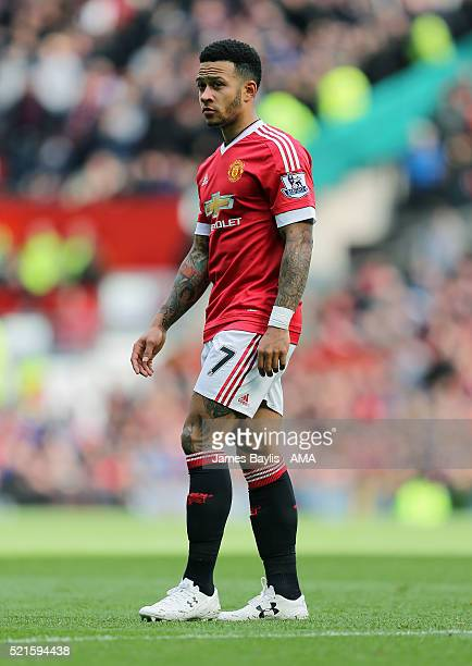 Memphis Depay of Manchester United during the Barclays Premier League match between Manchester United and Aston Villa at Old Trafford on April 16...