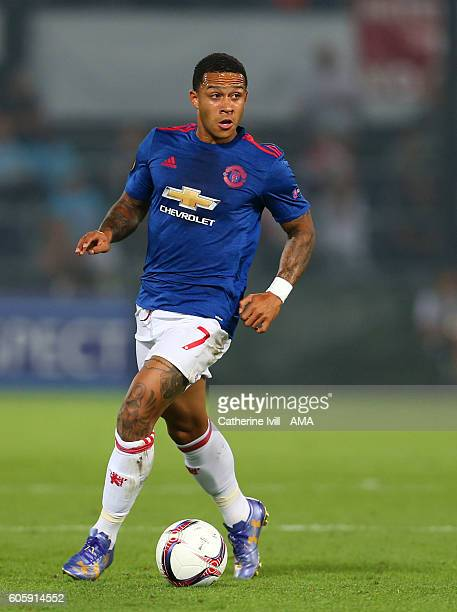 Memphis Depay of Manchester United during the UEFA Europa League match between Feyenoord and Manchester United at Feijenoord Stadion on September 15...